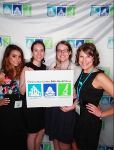 Dysautonomia International Interns with Patient Advisory Board Member Crista Procopio (L to R, Alex Soybel, Crista Procopio, myself, Jennie Hook)