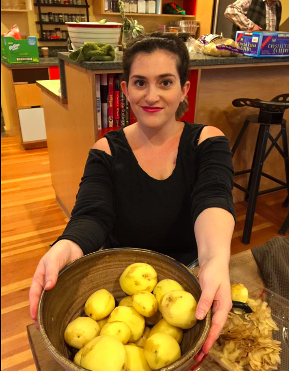 I peeled the potatoes, because I can do that sitting down.